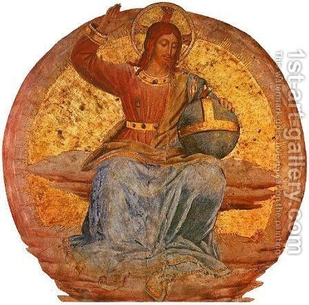 Christ in Majesty, 1447, detail of the fresco on the ceiling of the Cappella di San Brizio Cathedral, Orvieto by Angelico Fra - Reproduction Oil Painting