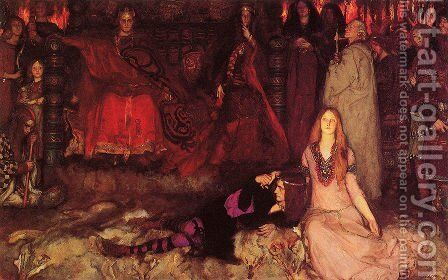 "The Play Scene in ""Hamlet"" 1897 by Edwin Austin Abbey - Reproduction Oil Painting"