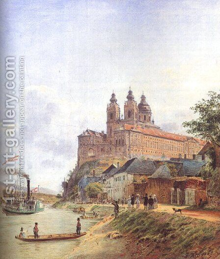 The Monastery of Melk on the Danube, 1845 by Jakob Alt - Reproduction Oil Painting