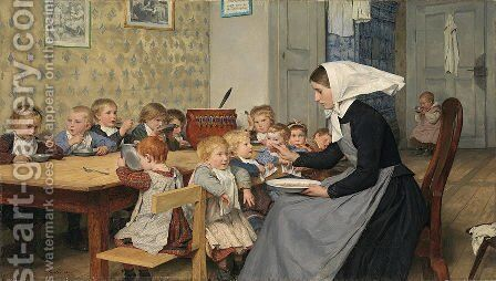 The Crèche, 1890 by Albert Anker - Reproduction Oil Painting