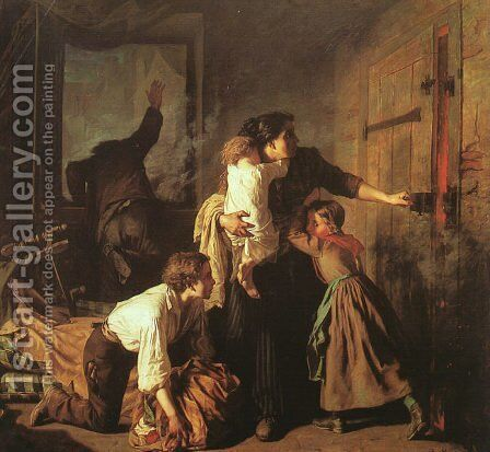 The Fire, 1850-51 by Alexandre Antigna - Reproduction Oil Painting