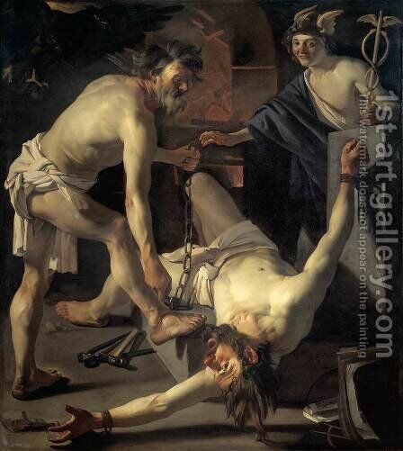 Prometheus Being Chained by Vulcan 1623 by Dirck Van Baburen - Reproduction Oil Painting