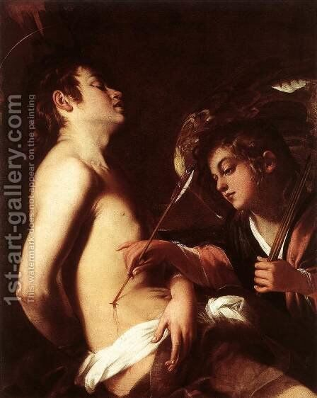 St Sebastian Healed by an Angel c. 1603 by Giovanni Baglione - Reproduction Oil Painting