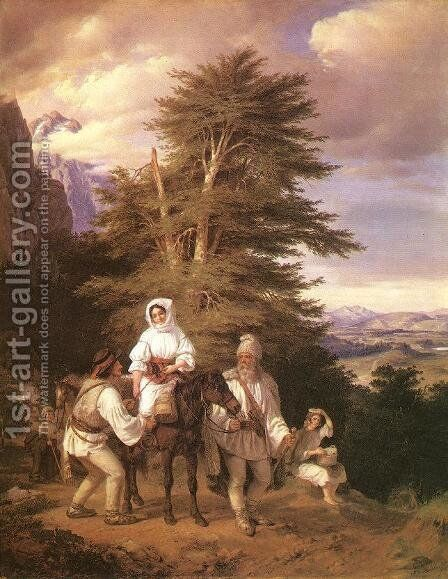 Rumanian Family Going to the Fair 1843-44 by Miklos Barabas - Reproduction Oil Painting