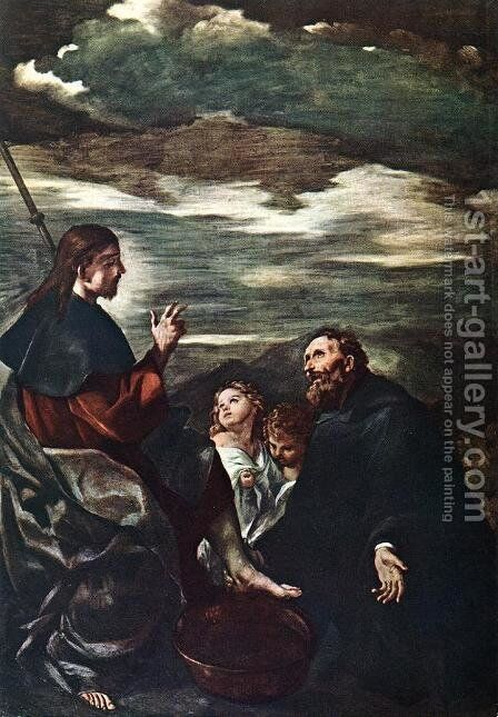 St Augustine Washing the Feet of the Redeemer by Giovanni Francesco Guercino (BARBIERI) - Reproduction Oil Painting
