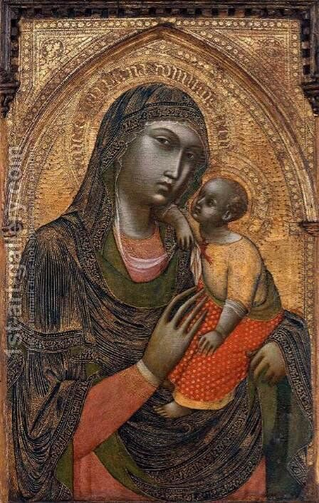 Virgin and Child 1360s by Barnaba Da Modena - Reproduction Oil Painting