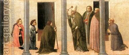 Predella: Consecration of the Church of the Innocents 1488 by Bartolomeo Di Giovanni - Reproduction Oil Painting