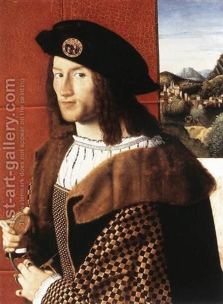 Portrait of a Gentleman c. 1512 by Bartolomeo Veneto - Reproduction Oil Painting