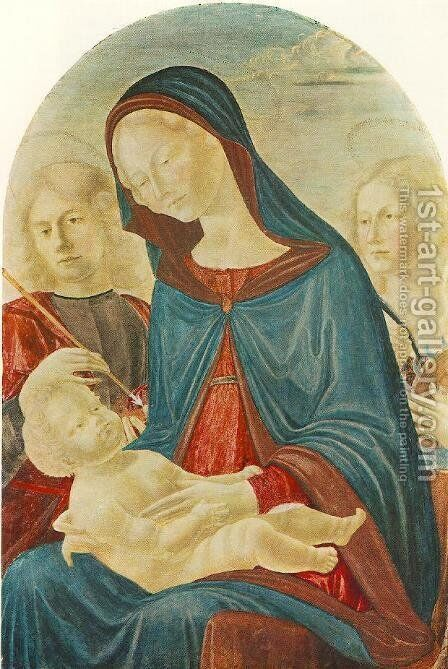 Madonna with Child, St Sebastian and St Catherine of Alexandria 1485 by Neroccio (Bartolommeo) De' Landi - Reproduction Oil Painting
