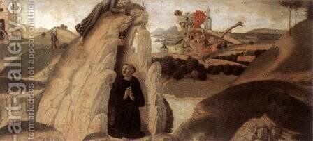 Three Episodes from the Life of St Benedict (1) 1475 by Neroccio (Bartolommeo) De' Landi - Reproduction Oil Painting