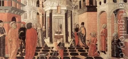 Three Episodes from the Life of St Benedict (2) 1475 by Neroccio (Bartolommeo) De' Landi - Reproduction Oil Painting