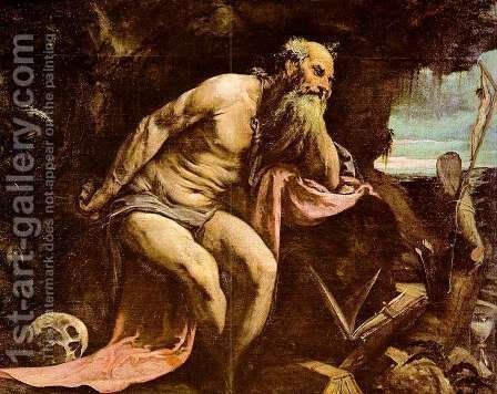 St. Jerome 1556 by Jacopo Bassano (Jacopo da Ponte) - Reproduction Oil Painting