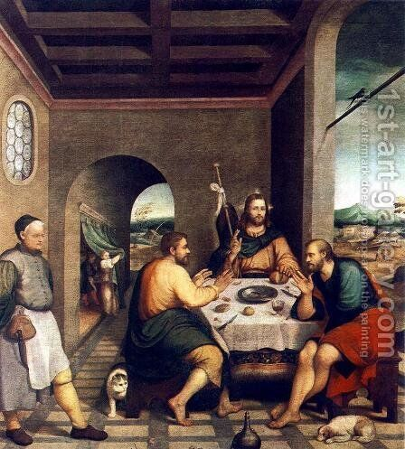 Supper at Emmaus c. 1538 by Jacopo Bassano (Jacopo da Ponte) - Reproduction Oil Painting