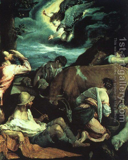 The Annunciation to the Shepherds 1533 by Jacopo Bassano (Jacopo da Ponte) - Reproduction Oil Painting