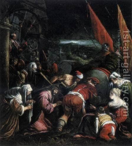 The Road to Calvary 1575 by Jacopo Bassano (Jacopo da Ponte) - Reproduction Oil Painting