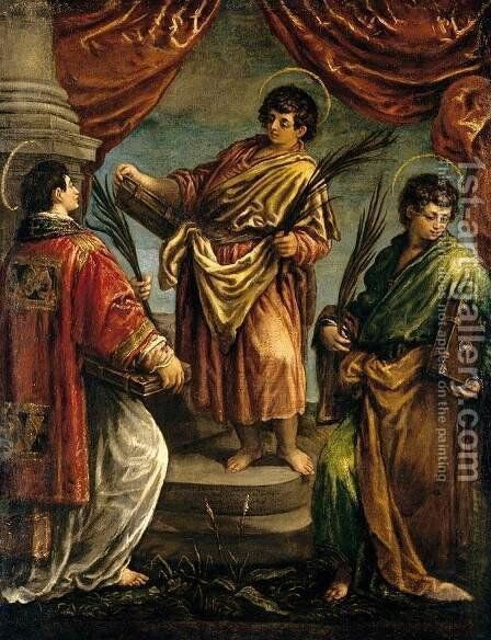 Three Martyr Saints 1578 by Jacopo Bassano (Jacopo da Ponte) - Reproduction Oil Painting