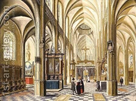 Interior of a Gothic Cathedral 1614 by Bartholomeus Van Bassen - Reproduction Oil Painting