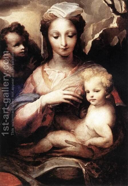 Madonna with the Infant Christ and St John the Baptist c. 1540 by Domenico Beccafumi - Reproduction Oil Painting