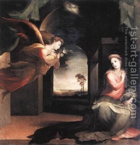 The Annunciation c. 1545 by Domenico Beccafumi - Reproduction Oil Painting