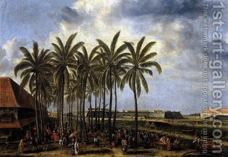 The Castle of Batavia, Seen from Kali Besar West 1656 by Andries Beeckman - Reproduction Oil Painting