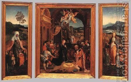 Triptych 1510s by Jan de Beer - Reproduction Oil Painting