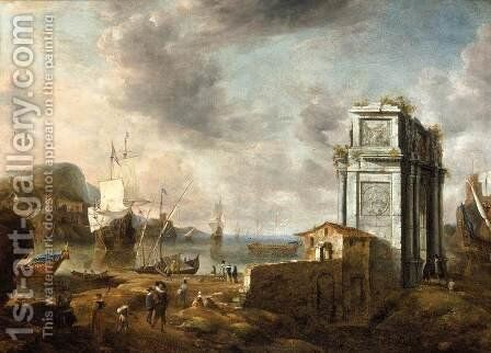 Capriccio of a Mediterranean Harbour by Jan Abrahamsz. Beerstraten - Reproduction Oil Painting