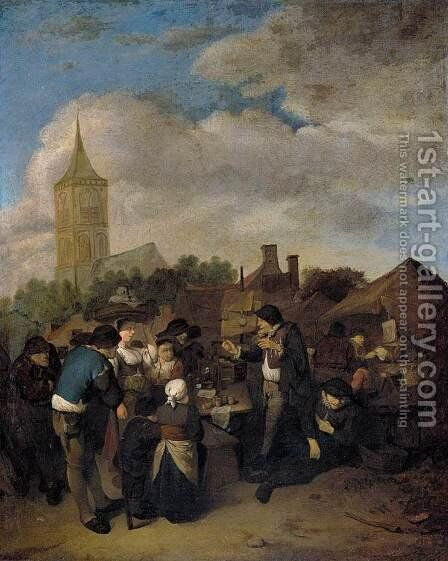 Village Market with the Quack 1654-58 by Cornelis (Pietersz.) Bega - Reproduction Oil Painting