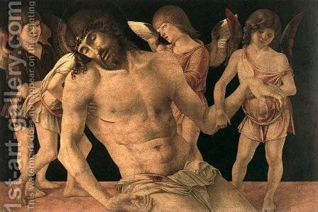 Dead Christ Supported by Angels (Pietà) c. 1474 by Giovanni Bellini - Reproduction Oil Painting