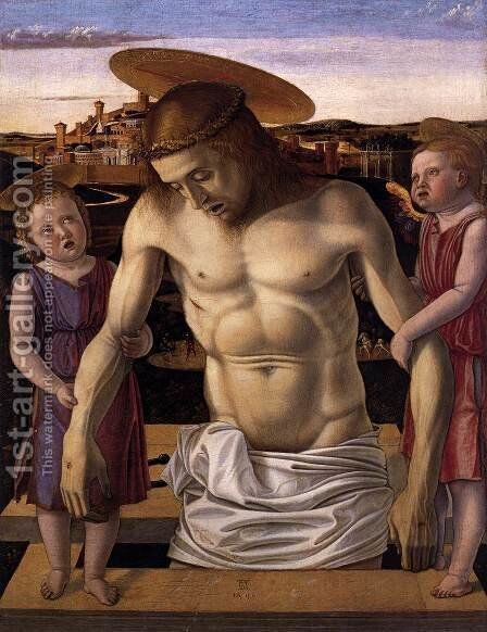 Dead Christ Supported by Two Angels (Pietà) c. 1460 by Giovanni Bellini - Reproduction Oil Painting