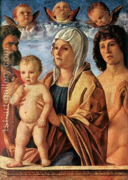 Madonna with Child and Sts. Peter and Sebastian c. 1487 by Giovanni Bellini - Reproduction Oil Painting