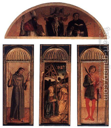 Nativity Triptych 1460-64 by Giovanni Bellini - Reproduction Oil Painting