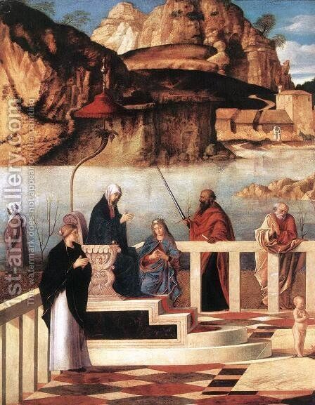 Sacred Allegory (detail) 1490-1500 by Giovanni Bellini - Reproduction Oil Painting