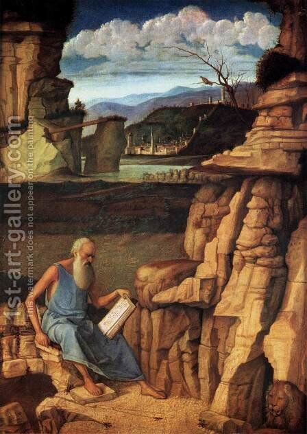 St Jerome Reading in the Countryside by Giovanni Bellini - Reproduction Oil Painting