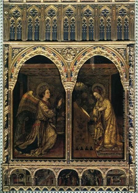 Annunciation 1444 by Jacopo Bellini - Reproduction Oil Painting