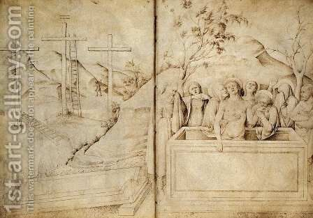 Lamentation (from the sketchook, folios 57b-58a) by Jacopo Bellini - Reproduction Oil Painting