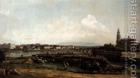 Dresden from the Left Bank of the Elbe, below the Fortifications 1748 by Bernardo Bellotto (Canaletto) - Reproduction Oil Painting
