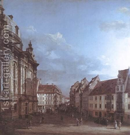 Dresden, the Frauenkirche and the Rampische Gasse 1749-53 by Bernardo Bellotto (Canaletto) - Reproduction Oil Painting