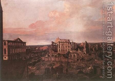 Dresden, the Ruins of the Pirnaische Vorstadt 1762-63 by Bernardo Bellotto (Canaletto) - Reproduction Oil Painting