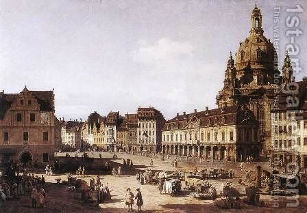 New Market Square in Dresden 1750 by Bernardo Bellotto (Canaletto) - Reproduction Oil Painting