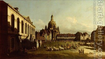 New Market Square in Dresden from the Jüdenhof 1749-51 by Bernardo Bellotto (Canaletto) - Reproduction Oil Painting