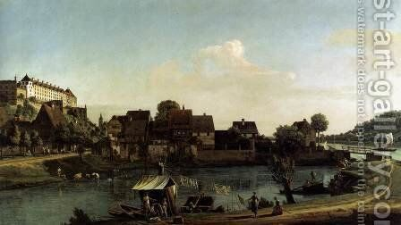 Pirna Seen from the Harbour Town 1753-55 by Bernardo Bellotto (Canaletto) - Reproduction Oil Painting