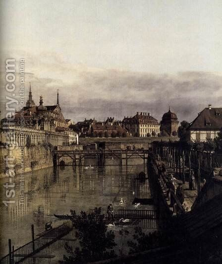 The Moat of the Zwinger in Dresden (detail) 1749-53 by Bernardo Bellotto (Canaletto) - Reproduction Oil Painting