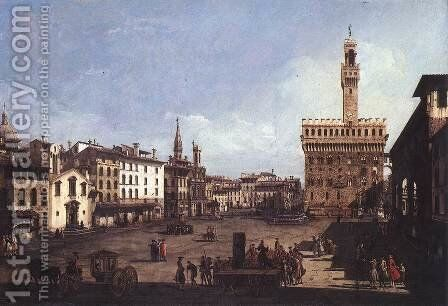 The Piazza della Signoria in Florence c. 1742, Oil on canvas, 61 x 90 cm, Museum of Fine Arts, Budapest by Bernardo Bellotto (Canaletto) - Reproduction Oil Painting