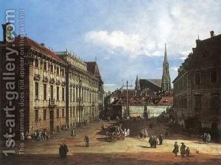 Vienna, the Lobkowitzplatz by Bernardo Bellotto (Canaletto) - Reproduction Oil Painting