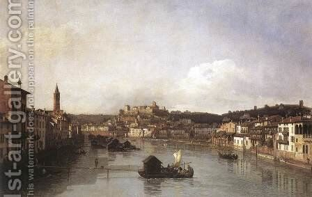 View of Verona and the River Adige from the Ponte Nuovo 1747-48 by Bernardo Bellotto (Canaletto) - Reproduction Oil Painting