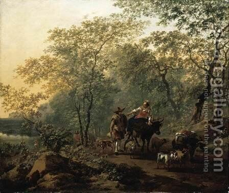 An Italianate Landscape 1654 by Nicolaes Berchem - Reproduction Oil Painting