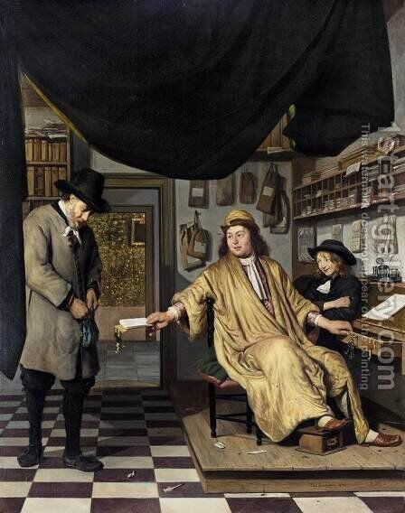 A Notary in His Office 1672 by Job Adriaensz. Berckheyde - Reproduction Oil Painting