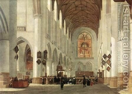 Interior of the St Bavo Church at Haarlem 1665 by Job Adriaensz. Berckheyde - Reproduction Oil Painting
