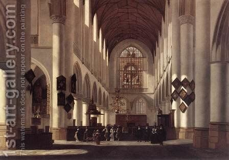 Interior of the St Bavo in Haarlem 1668 by Job Adriaensz. Berckheyde - Reproduction Oil Painting