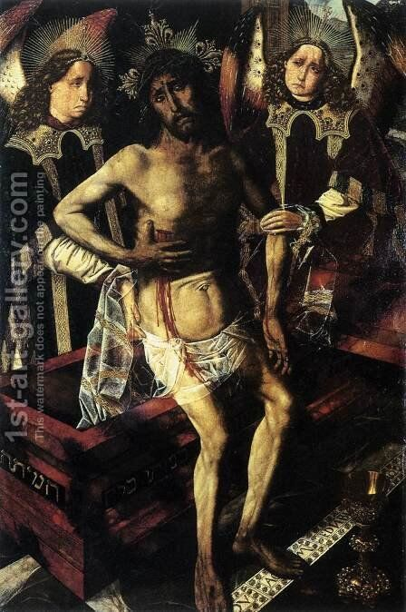 Christ at the Tomb Supported by Two Angels by Bartolome Bermejo - Reproduction Oil Painting